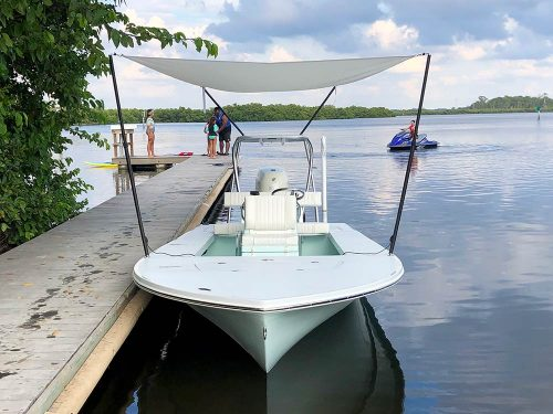 front view of boat with boat shade