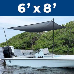 A 6 foot by 8 foot Rapid Switch Systems sunshade installed on a boat.