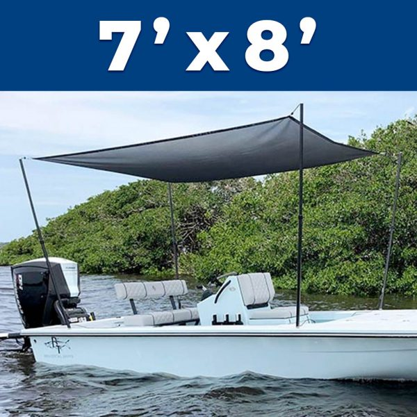 A 7 foot by 8 foot Rapid Switch Systems sunshade installed on a boat.