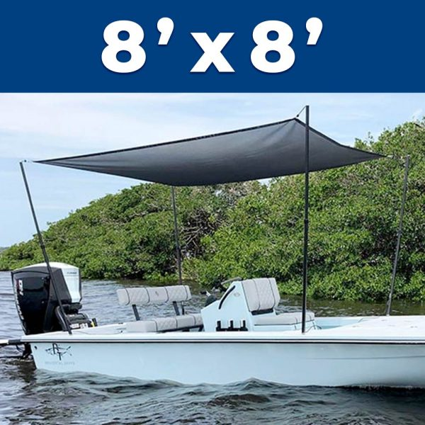 A 8 foot by 8 foot Rapid Switch Systems sunshade installed on a boat.