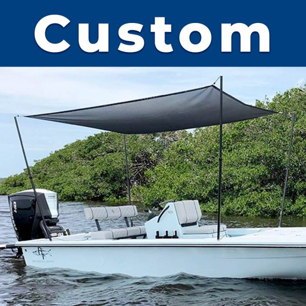 A custom sized Rapid Switch Systems sunshade installed on a boat.